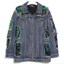 China Women Spring Sequins Denim Jacket Female Jeans Coat Windbreaker Ripped Long Sleeve Tops Casual Clothes Korean supplier jacket puff suppliers