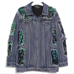 Korean female jeans online shopping - Women Spring Sequins Denim Jacket Female Jeans Coat Windbreaker Ripped Long Sleeve Tops Casual Clothes Korean
