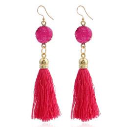 gold earring drops designs 2019 - New design long tassel earrings multi silk tassel with Natural stone round dangle earrings drop earrings for women jewel
