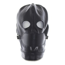 Wholesale 2017 Faux Leather Hood Feish Mask With Open Mouth Gag Adult Toys for Sex Game Erotic Positioning Bandage Hood Sex Products