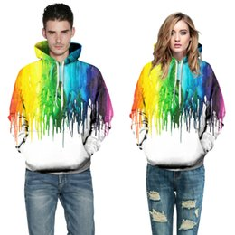 Barato Gravatas Arco Íris Atacado-Atacado- Plus Size S-XXL Hoodie Men Women New Fashion 3D Rainbow Drips Tie tinte Sweatshirts Funny Oil Painting Printed Hoody Tops Dropship