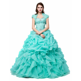 Beautiful Ball Gown Sweetheart Sequined Beads Quinceanera Dress for Girls Sweet  16 Ruffled Organza Turquoise Party Gown Short Sleeves Jacket d9c826689753
