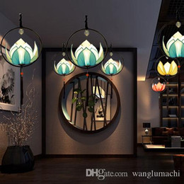 Chinese Pendant Lanterns Canada - Modern new Chinese style chandelier creative personality decorative lotus lamp imitation classical aisle Restaurant Restaurant Lotus Lantern