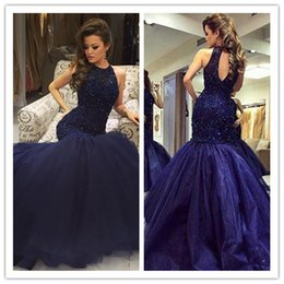 Bling Navy Prom Dress Canada - 2017 Dark Navy Mermaid Prom Dresses Bling Bling Beaded Sequins Jewel Neck Hollow Back Sexy Celebrity Gowns Formal Evening Dresses
