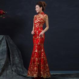 HF819 Robe de mariée chinoise rouge femelle longue à manches courtes Cheongsam or mince robe traditionnelle chinoise femmes Qipao pour la fête de mariage 8