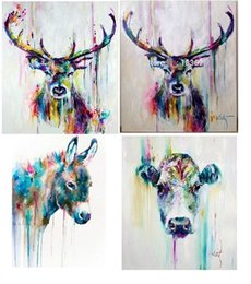 abstract horses oil painting Canada - 4 pcs Colorful Abstract Deers Horse Cow,Pure Hand Painted Modern Wall Decor Abstract Animal Art Oil Painting On Canvas.customized size al-Da