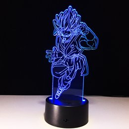 Free Goku Figures Australia - 3D Goku Illusion Lamp Night Light DC 5V USB Charging AA Battery Wholesale Dropshipping Free Shipping Retail Box