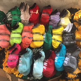 Venta al por mayor de Rosa Calcetines de tobillo Moda Mujeres Niñas Calcetines deportivos Calcetines cortos deportivos Calcetines de barco colores mezclados