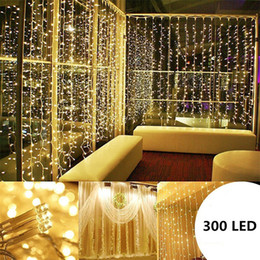 Discount wedding candle cup - 3M X 3M 300 LED Lights Wedding Christmas String Birthday Party Outdoor Home Warm White Decorative Fairy Curtain Garlands