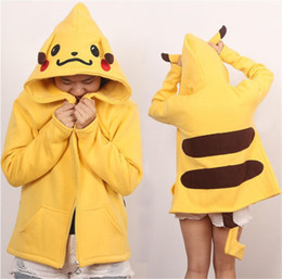 Barato Pikachu Pullover-Pikachu Jacket Hoodie Cosplay Zipper Coat com Orelhas Tail Anime Poke Ash Ketchum Halloween Gift Sweatshirt Man Woman Unisex Top Pullover