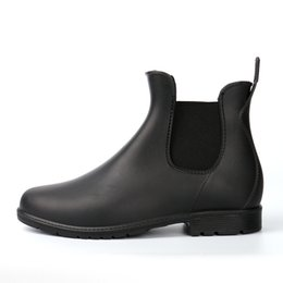 "$enCountryForm.capitalKeyWord NZ - Wholesale- Kitchen Rain Boots Slip-on British Men""s Platform PVC Waterproof Motorcycle Black All-season Cooker's Martin Boots Men Shoes"