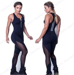 Barato Macacão Preto Profundo V-Sexy Black Mesh Patchwork Jumpsuit Bodycon Fitness Gym Jumpsuits Leggings Deep V Neck Zipper Bodysuit Stretch's Women's Playsuits