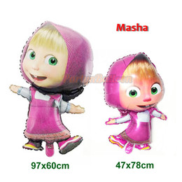 Discount masha bear toys 1PC x 36'' Foil Balloon Masha and the Bear Balloon Birthday Party Decoration Child Toys Gifts Celebration Cart
