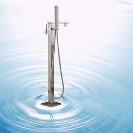 Grifo mezclador contemporáneo del grifo de la tina del cuarto de baño de la sola manija del níquel cepillado pulido con la ducha del PDA montada piso