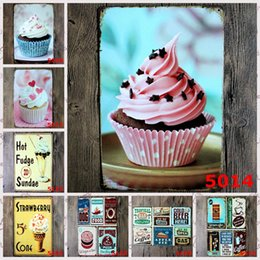 Delicious gift online shopping - Delicious Ice Cream Cake Vintage Tin Posters Get More Coffee Hot Dog Iron Painting Pizza Burgers Mexican Food Metal Tin Sign cm rjr