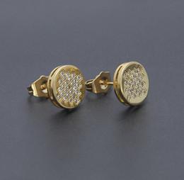 $enCountryForm.capitalKeyWord Canada - Hot Sale Hip Hop Earrings Round Iced Out CZ Stud Earrings for Men Man Unisex Piercing Jewelry