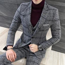 $enCountryForm.capitalKeyWord NZ - 2019 3 Piece Suit Set Men Tuxedos British Men Suits Winter Thick Slim Fit Plaid Wedding Dress For Men Business Casual Formal Wear 5XL