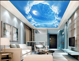 mediterranean ceilings Canada - HD 3D Ceiling Modern Wallpaper Walls Blue sky and white clouds Wallpaper For Ceilings Wallpaper For Kids Room Roll