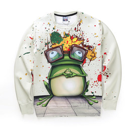 frog faces UK - explosion of 3D digital printing art sweater painting creative frog men and women funny face pictures hip-hop long sleeved sweater