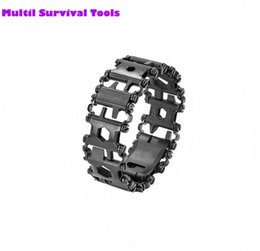 Camping Bracelets Canada - Wholesale New TREAD Black Stainless Steel Bracelet Multi Tool HAND TOOL Outdoor Camping Hiking Mutifunctional tools EDC Gear