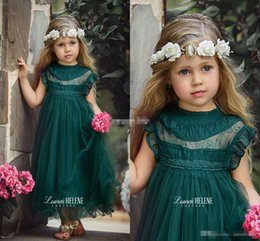 Casquettes Personnalisées Pas Cher-Dark Green Tea Longueur Fille Fille Robes pour Boho Vintage Wedding Sheer Neck Cap Sleeve Tulle 2017 Custom Baby Child First Communion Dress