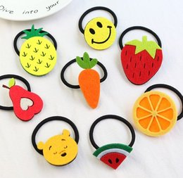 Discount hair clip holders wholesale - Fruit Slice Multi-Patterns Hairband sunflower Accessories Girl Women Elastic Rubber Bands Hair Clips Headwear Tie Gum Ho