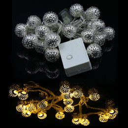 Wholesale LED String Lighting M LEDs AC V Holiday Silver Metal Ball Wedding Christmas Home Decoration Fairy String Light Lamp