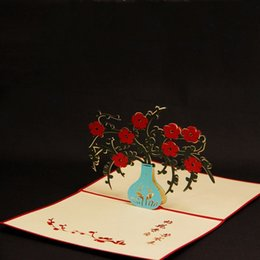 10 Pieces LotKirigami 3D Pop Up Four Gentlemen Of The Flowers Greeting Card Three Dimensional Plum Business Free Shipping