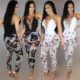 $enCountryForm.capitalKeyWord Canada - 2017 Translucent Mesh Sexy Printed Jumpsuit Overalls Vest Rompers Bodysuit Womens Sleeveless Hollow Out Lace up v Jumpsuit One Piece Outfits