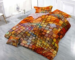 orange 3d bedding set Canada - Custom Drawings Can be Customized 3D Dazzling Colorful Plaid Cotton Satin 4-Piece Duvet Cover Sets Bedding Sets