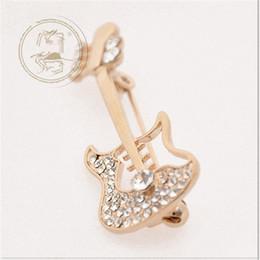 $enCountryForm.capitalKeyWord UK - Hot sale Free Shipping wholesale Fashion scarf jewelry clear rhinestone guitar Musical Instrument Brooches violin pins
