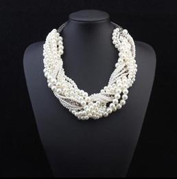 $enCountryForm.capitalKeyWord Canada - 5PCS Luxury Necklace For Women Multi Rows Cream Pearl Cross Short Necklace Lady Rhinestone Design Chockers Free Shipping
