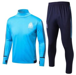 Barato Casacos Homens Xl-2017 2018 Olympic Marseille Tracksuit Soccer Jogging Football Tops Coat Calças Treinamento Desportivo 16 17 Suit Men Adults OM Football Track Suit