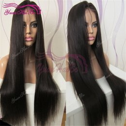 $enCountryForm.capitalKeyWord Canada - Celebrity Wigs Lace Front Wig Silky Straight Natural Black Virgin Brazilian Human Hair Baby Hair Full Lace Wig for Black Woman Free Shipping