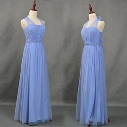 Robes De Demoiselle D'honneur Douces Pas Cher-Soft Tulle Long Robes demoiselles d'honneur Lace Up 2018 New Blue Robes de demoiselle d'honneur Elegant Wedding Party Dress Real Gowns
