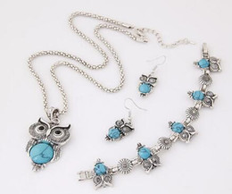 $enCountryForm.capitalKeyWord Australia - DHL Jewelry Sets Tibet Silver Vintage Turquoise Owl Pendant Necklace Charms Earring Bracelet Jewelry Set for Women Christmas Decorations