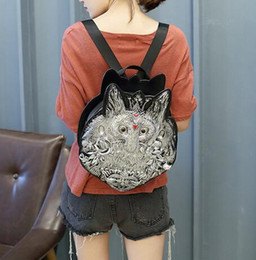 Discount stereoscopic bag - sales handbag fashion personality stereoscopic 3 d womens backpack quality leather fox head leather handbag trend joker
