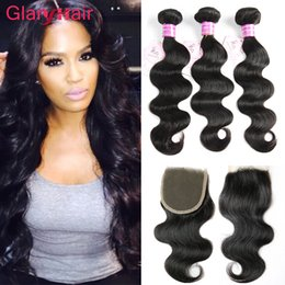 Discount 18 inch human hair for - Best Selling Glary Hair Products Brazilian Hair Extensions Remy Human Hair Wefts with Closure Top Lace Closure 4x4 Whole