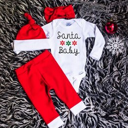 Barato Meninos Meninas Roupas-Children Christmas Red 4PCS Sets Baby Boys and Girls Conjuntos de macacão de manga comprida White Rompers + Red Pants + Hat + Headband Kids Holidays Clothings