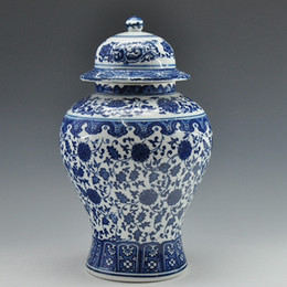 antique covers 2019 - Wholesale- FREE SHIPPING Chinese Antique Qing Qianlong Mark Blue And White Ceramic Porcelain Vase Ginger Jar cheap antiq