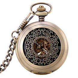 Classic Mens Glasses NZ - Bronze Vitage Type Skeleton Mechanical Pocket Watch Classic Luminous Hands Black Dial Mens Automatic Pocket Watch