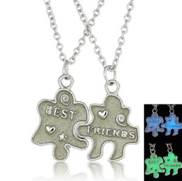 Crystal puzzles online shopping - Best gift Lights Puzzle Necklace Hot Shine Couple Good Friends Necklace Pendant Set Jewelry WFN147 with chain mix order set pieces