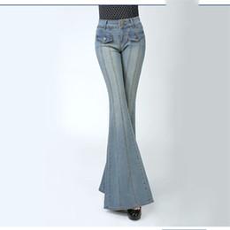 Ingrosso Le donne all'ingrosso dell'annata di trasporto blu dell'annata metà vita sottile bootcut jeans lavati gamba larga più il formato XL