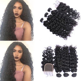 34 inches hair Australia - Peruvian Virgin Hair Wet And Wavy Human Hair Weaves With Lace Closure 4*4 Free Part Water Wave Top Closure With Hair Bundles
