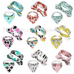 Discount head bandages - INS Saliva Towel Baby Head Band Infant Triangule Bandage Burp Cloth Toddler Fruit Pinafore Hairband Newborn Animal Bibs