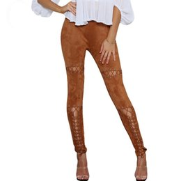 Ojal Rosa Baratos-Faux Suede Pants Mujeres Sexy Super High Rise Ojales Lace Up High Waist Pencil Pant Elástico Fit Skinny Mujeres Leggings Pantalones