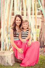 $enCountryForm.capitalKeyWord Canada - 2017 Family Matching Outfits Mother And Daughter Summer Sleeveless Dresses Striped With Pink Dress Kids Parent Child Outfits