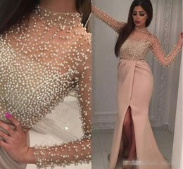 Luxury Crystal Pearls Prom Dresses Canada - Vintage Blush Split Evening Dresses with Long Sleeve 2017 Luxury Pearls Illusion Neck Middle East Arabic Yousef Aljasmi Prom Party Dress