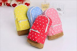 Old Storage Boxes NZ - lovely Zipper Pencil Bag Pencil dot canvas Case Cosmetic Bag children gift stationery storage box Free shipping