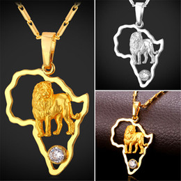Africa hip hop necklaces online shopping africa hip hop necklaces u7 african jewelry hip hop pendant necklace men women cubic zirconia lion pendant chain gold platinum plated africa map accessories aloadofball Images